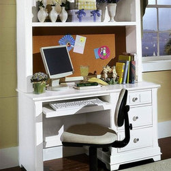 Vaughan Bassett - 3-Drawer Pull Out Computer Desk w Hutch in Sn - Includes computer desk and computer hutch. Desk chair not included. Computer desk:. 3 Drawers. 1 Pull out tray. 52 in. W x 27 in. D x 30 in. H. Computer hutch: 51.5 in. L x 13 in. W x 48 in. H. Snow White finish. Assembly required. Computer chair: 21 in. L x 20 in. W x 35 in. H (optional)