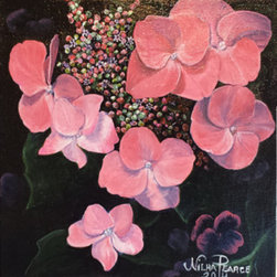 """Pink Hydrangea""  (Original) by Nilha  Pearce - I have always loved hydrangeas. My grandmother, Honey, had them all over her yard in Birmingham, Alabama. It  seemed like magic  to me that you  can change the color of the blossoms simply by adding different chemicals to the soil. I guess I can do the same to them with paint! These started out blue, but halfway through the work, I decided to paint them in pink."