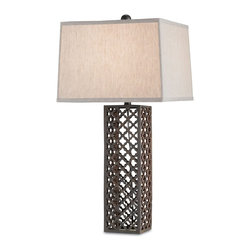 Currey & Company - Madera Table Lamp - The Madera table lamp channels global inspiration. Beneath a natural linen shade, the light fixture's open cast iron base exudes Moroccan flair with quatrefoil detailing.