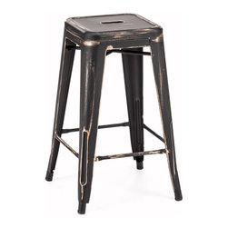 ZUO ERA - Marius Counter Stool Antique Black Gold (set of 2) - This stool is made of a solid steel frame in a rustic antiquate black with gold accents finish.