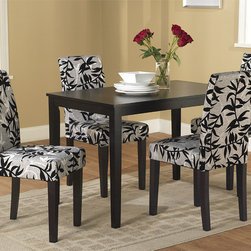None - Parson Black and Silver 5-Piece Dining Table and Chairs Set - Update your dining room with this black and white five-piece dining set. With its solid wood frame and sophisticated, printed plush upholstery, this dining set will give your home a comfortable and stylish place to share a meal with friends and family.