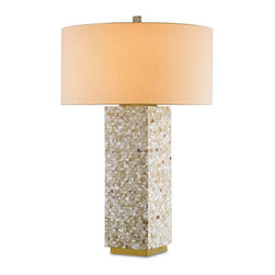 Currey & Co - Currey & Co 6449 Mattinata White Hammer Shell Table Lamp - Currey & Co 6449 Mattinata White Hammer Shell Table Lamp