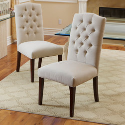 Christopher Knight Home Crown Fabric Off-white Dining Chairs (Set of 2) -