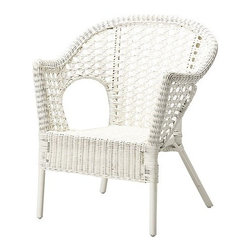 Finntorp Chair, White - Low-maintenance rattan furniture is ideal for cottage living, as it's the space where you put up your feet and embrace all informality.