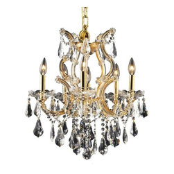 """PWG Lighting / Lighting By Pecaso - Karla 6-Light 20"""" Crystal Chandelier 2381D20G-RC - Karla was an Empress from 1740 to 1780 in the waning days of the Baroque period. The Baroque love of embellishment is highlighted in the elaborate crystal swags and drops that fully dress these fixtures in a look that is pure luxury. From the gold or chrome finish to the fully lavish crystal dressing, this Karla collection represents opulent sophistication."""