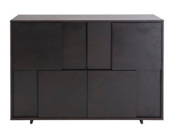 Euro Style - Cabrio Buffet Sideboard - Wenge - The sideboard doors have an upside down symmetry. The media stand has an implied symmetry. That shelving unit? Unbalanced and great looking. These Cabrio items prove once again that a few bold design decisions can make things extraordinary.