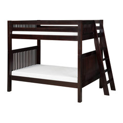 """Camaflexi - Bunk Bed with Mission Headboard and Lateral Angle Ladder - Cappuccino - When your family is growing and your space is not, Camaflexi's ultra durable Bunk Bed collection offers the perfect solution. Constructed of solid wood, the upper bunk features front and rear safety guard rails. Both beds include slat roll foundations reinforced with our unique, extra sturdy, center rail support system. The extra wide, grooved step angle Lateral side entry Ladder optimizes access to lower bunk bed. All our Bunk beds are built to meet and/or exceed all government and industry safety standards for your ease of mind and to ensure longevity. The timeless Mission style, with our rich, """"child-safe"""", multi-step, protective cappuccino finish, will complement any bedroom decor. Optional trundle and/or storage drawers add to this bunks utility. Choose between open or closed foot boards with the addition of modesty panels. When needed the bunk can be separated into two individual twin beds. Flexibility is what we are all about! The Camaflexi system offers the best in sturdy, eco-friendly and healthy furniture for your growing child's needs. Lateral ladder maximizes access to under bed storage, and to the beds when it comes to changing the bedding. Featured in the classy Mission Style to compliment your room decor. Both beds include a slat roll foundation, with our unique extra sturdy center rail support system for added longevity. Shown in our child safe, cappuccino protective finish. Features our unique extra deep grooved steps on ladder for added safety and comfort when climbing. Constructed of 100%, all natural, solid wood. Meets and/or exceeds all ASTM and U.S. Government safety standards for Bunk Beds. Covered by our One Year, Peace of Mind warranty, covering manufacturing related defects. Verifiable sustainable wood source, both Eco and People Friendly. Under bed clearance from bottom of bed rail is 11 1/2"""". Clearance between top and bottom bed is 36"""". Ladder protrudes 15"""