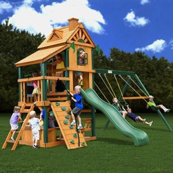 Gorilla Playsets Laredo Wood Swing Set - There's no room for boredom in the Gorilla Playsets Laredo Wood Swing Set's house. Crafted with durable Timber Shield posts and cedar wood in a playhouse-inspired design this backyard set boasts a green Wiki Wave slide an enclosed Extreme Tube slide two classic swings and a belt swing with safety-coated chains to protect little hands and a bevy of built-in features. Included are a tic-tac-toe panel chalkboard kit jumbo play binoculars a play telephone a play telescope a sandbox a toy box with a removable top and a picnic table. Also includes manufacturer's 10-year lumber and 1-year accessories warranties; for information call 800-882-0272. About Gorilla PlaysetsSince 1992 Gorilla Playsets has been designing and selling ready-to-assemble playsets. With a reputation for providing excellent customer service Gorilla Playsets conveniently provides customers with affordable playsets including quality wood components sturdy playset accessories all necessary hardware and clear instructions. Gorilla Playsets always keeps safety in mind while creating inventive durable products that provide children with myriad possibilities for fun and play.