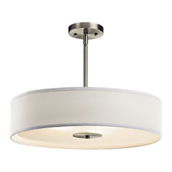 BUILDER - BUILDER Crystal Persuasion 100W Transitional Inverted Pendant / Semi Flush Mount - Simple but elegant, this Kichler Lighting pendant light features a crisp white fabric shade with a satin etched glass diffuser. From the Crystal Persuasion Collection, it also features a clean Brushed Nickel finish to complete the look.