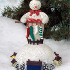 Renovators Supply - Christmas Music Box White Plastic Winter Wonderland 7'' H - Christmas Music Box. This distinctive snowman music box plays a cheering rendition of Winter Wonderland. Measures 4 3/4 in. wide x 7 in. high.