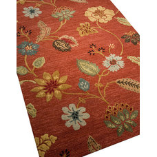 Traditional Area Rugs Garden Party Rug, Red, 8'x11'