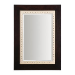 Uttermost - Brinkley Framed Mirror - This beveled mirror is a frame within a frame with a linen liner embellished with chrome nailheads. You need to hang it just where it wants to be hung. Why? Did you miss the part about the nailheads?