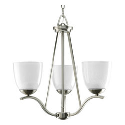 Progress Lighting - Progress Lighting P4466-09 Lakeshore Three-Light Single-Tier Chandelier - 3-Light Chandelier with gentle curved arms in a Brushed Nickel finish. Smooth on the outside, this collection's glass appears as if one is looking at pebbles through water. Perfect for spa-inspired bath suites.Features: