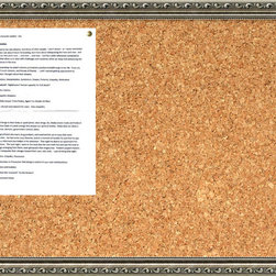 Amanti Art - 'Parisian Silver Cork Board - Medium' Framed Art Print 26 x 18-inch - A beautifully framed cork board turns everyday notes and messages into an ever evolving work of art. This Parisian Silver Cork Board features an ornate patterned frame strongly accented by a dark pewter patina. There is an antiqued inner slope with fine beaded pattern on the inner edge.