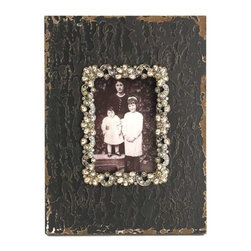 Zentique - Photo Frame by Zentique - Standing on an accent table alone or included with other frames, the distressed black frame, by Zentique, will definitely by an eye catcher. The jeweled picture border allows this frame to sit next to a formal lamp or use in a rustic setting as well. (ZEN)