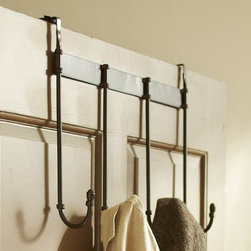 Over the Door Row of Hooks - Keep those towels, robes, purses, etc. off of the floor. And this one works great if you don't want to drill holes in your doors!