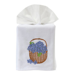 Jacaranda Living - Tissue Box Cover, Hydrangea Basket Blue - Linen Tissue Box Cover embroidered with Hydrangea Basket in blue. Made by Zulu women in South Africa.