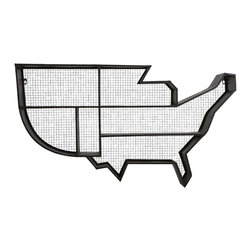 USA Wall Shelf - Oh, say can you see this unique shelf hanging on your wall? Store your favorite tchotchkes and collectables within the iconic metal shape of the home of the brave.
