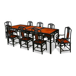 "China Furniture and Arts - 96in Rosewood Ling-Chi Design Dining Table with 8 Chairs - An eye catching work of art every time when you entertain, this eight-chair dining set is hand carved with delicate Chinese Ling-Chi flower motif. Constructed from solid rosewood using traditional joinery technique by artisans in China. The table can be extended to 96"" with two 18"" removable leaves for your convenience. Hand applied natural with black ebony stain round out its rich and elegant beauty. A work of art that brings cheerfulness to your home."