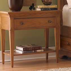 American Drew - American Drew Ashby Park Leg Nightstand Nutmeg - The Ashby Park Collection is a casual, lifestyle collection with multiple options that will help you create the perfect bedroom. The design of the collection is simple, yet full of look. An eclectic mix of colors and materials gives this group the ability to fit into many settings; create a metro, casual, transitional, traditional or even coastal appearance by changing or mixing up the colors and textures. There are five finish options. The three wood tone finishes are Natural, Nutmeg and Peppercorn and the stained colors are Sage and Sea Salt. The semi-transparent finish is accomplished by applying the various colored stains onto the strong grain characteristics of Ash. This allows the wood undertones to naturally add depth and highlights to each piece. The wood tone finishes use a Dark Copper Finished knob. The stained colors use a Nickel Finished knob. The hardware adds to the simple styling of the pieces. With multiple bed and case piece options, finish and hardware options, Ashby Park is sure to fit the style and needs of many homes. - 901-401N.  Product features: Belongs to Ashby Park Collection by American Drew; Leg Nightstand; 1 Drawer; 1 Fixed Shelfs; Ash solids and ash veneers; Simulated wood components and wood products; Eclectic mix of colors and materials; Transitional Style; Nutmeg or Peppercorn finish comes with dark copper color hardware and Sage and Sea Salt finishes come with nickel color hardware. Product includes: Leg Nightstand (1). Leg Nightstand belongs to Ashby Park Collection by American Drew.