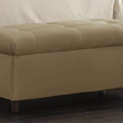 """Skyline Furniture - Tufted Storage Ottoman - The beautiful handmade Tufted Storage Bench is perfect when placed at the end of a bed or in any living area that needs additional stylish seating. This storage bench includes plenty of storage space to help you stay organized, and will be a perfect fit in any decor! Features: -Pine wood frame.-Rubber wood legs.-100% Microdenier Upholstery.-Polyurethane foam.-Pull off lid.-Spot clean only.-Cleaning Code To prevent overall soil, frequent vacuuming or light brushing to remove dust and grime is recommended. Spot clean using a mild water-free solvent or dry cleaning product. Clean only in a well ventilated room and avoid any product containing carbon tetrachloride which is highly toxic. Pretest small area before proceeding. Cleaning by a professional furniture cleaning service only is recommended. .-Collection: Tufted.-Distressed: No.-Country of Manufacture: United States.Dimensions: -Overall Product Weight: 40 lbs.-Overall Height - Top to Bottom: 19"""".-Overall Width - Side to Side: 37"""".-Overall Depth - Front to Back: 19""""."""