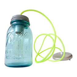 EarthSeaWarrior - Neon Yellow Industrial Lighting Vintage Mason Jar Pendant - Mason jars ooze nostalgia and you can have all those good memories shining down on you with this unique pendant lamp. A sunny yellow cord and blue-tinted glass complete the fun, cheerful look.