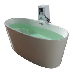 Matte White Free Standing Solid Surface Stone Resin Bathtub
