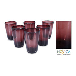 Novica - Set of Six Handmade Tall Amethyst Glass Tumblers (Made in Mexico) - Enhance your drinkware with this set of six amethyst purple tumblers. These tumblers feature a lovely shade of purple and simple design, perfect for any personal style. These glasses are dishwasher safe, making them easy to clean after a dinner party.