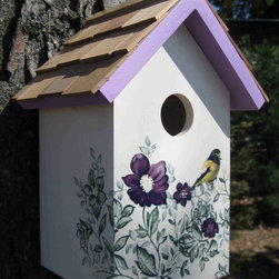 Home Bazaar, Inc. - Printed Standard Birdhouse Anemone - Fully functional, topped with western red cedar shingles and decorated with an anemone floral design and matching roof line, this standard nesting box can be fixed to a fence post with its pre-installed key-hole hardware. Entrance hold measures 1 1/4 inch