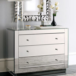 "Horchow - Ryan Mirrored Chest - Three-drawer chest is made of composite woods and mirrors. 42""W x 20""D x 33""T. Imported."