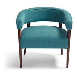 Grandin Road - Dumont Chair in Peacock - Elegant chair with a wooden frame and upholstered seat and back. Curved backrest is minimal, yet comfortable. Legs have a mahogany finish. Free Swatches Available. Pay homage to mid-20th century modernity with our David Bromstad Dumont Chair. Its shape is a masterful example of form and function. The curved, padded back also serves as comfortable armrests. Tapering wooden legs have sturdy simplicity. Upholstered as you specify in high-quality woven fabric or metallic-toned pleather.  .  .  . A Grandin Road exclusive.