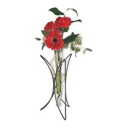 Danya B - 14 Inch Half Moon Metal Stand Design with Amphora Vase, Clear - • Vase on Half Moon Stand.