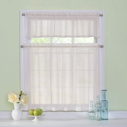 Curtainfresh - Ivory Odor Neutralizing Tier Set - - Add classic style to any window in your home with sheer voile kitchen tiers by Curtain Fresh?. Now any room can look great and smell fresh too with the Curtain Fresh patented odor-neutralizing technology. Arm & Hammer, Curtain Fresh odor neutralizing sheers continuously neutralize unpleasant odors created by cooking, pets, smoke, must and mold. The ultimate blend of fashion and function ? each Curtain Fresh odor neutralizing 3-piece tier set continuously helps to keep your home smelling fresh, even when you?re not there. Hang Curtain Fresh curtains in the room where your pet sleeps to help remove pet odors all day long. Enjoy a fresher kitchen, baby?s room, bathroom, playroom and bedroom with Curtain Fresh odor-neutralizing tiers. The photo catalytic process converts unpleasant odors into water vapor and carbon dioxide, thus causing airborne pollutants and odorous substances to degrade and neutralize. Independent testing has shown that Curtain Fresh curtains continuously neutralize odors for up to five years, with up to one washing per year. This innovative home cleaning solution was developed with the makers of Arm & Hammer?, the trusted name in cleaning, freshening and deodorizing products for the home. Kitchen tiers are unscented. Each sheet kitchen tier set includes one 56? wide x 14? long rod pocket valance and two 27? wide by 32? long rod pocket tiers. Available in white and ivory. Set requires two curtain rods for hanging. Curtain rods sold separately. Easy care, machine washable 100% polyester sheers. Imported. Curtainfresh - 13297056X036IVY