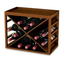 "Wine Enthusiast - 12-Bottle X-Cube Wood Wine Rack - This strong wooden cube wine rack can stand alone or be stacked high for space saving flexible storage. Holds up to 12 standard wine bottles. Constructed of walnut stained Mahogany wood. Easy to assemble. Measures 15 ½"" H x 19"" W x 11"" D."