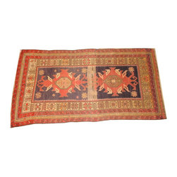 "Caucasian Rug, 7'1"" x 3'9"" - Wool pile hand made very fine consigned vintage Karabagh  Caucasian rug in excellent condition. Approximately 80 years old. Excellent condition."