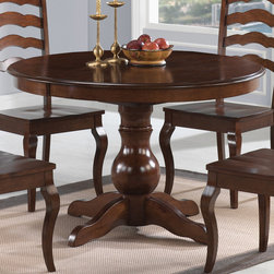 Coaster - Davis Round Dining Table, Cappuccino - The Davis dining collection has a classic design style for your kitchen nook or smaller dining area. Drawing on traditional country detail, the round table and side chairs with shaped ladder backs are relaxed with an elegant look overall. The warm oak finish will look great in any decor.