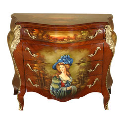MBW Furniture - Hand Painted French Bombe Bombay Chest Commode Vanity - This extraordinary 4 drawer bombay chest has 5 beautiful paintings, all hand done. 100% handmade (not mass produced) using a solid beechwood frame (treated by kiln drying to a 10% moisture content) and a high gloss mahogany finish, this chest is very heavy and built to last a lifetime. Ram's head brass ormolu mounts stretch down to the cabriole-like legs and onto the feet. The drawers have dovetail joinery and ornate brass handles. This lovely chest is a French reproduction imported from Egypt and perfect for converting into a bathroom vanity if desired. Wherever you choose to display this gorgeous piece in your home, it is sure to bring many accolades. But don't wait, these highly desirable pieces go quickly!