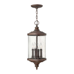 Hinkley Lighting - Hinkley Lighting 1752VZ Barrington 4 Light Outdoor Pendants/Chandeliers in Victo - Barringtons chic, classic style transforms this design into a modern interpretation of the traditional outdoor lantern, constructed of solid aluminum. The cast finials combine with the clear seedy glass for added authenticity, while the lustrous Victorian