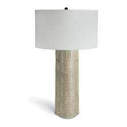 Kathy Kuo Home - Doha Global Bazaar Grey Crocodile Clover Table Lamp - An intriguing clover shape, enrobed in a grey-green crocodile finish, turns a traditional column table lamp into an eclectic, Rustic Lodge treasure. A classic white drum shade complements the uniquely textured base of this organic piece.