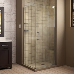 "DreamLine - DreamLine SHEN-4134301-01 Elegance Shower Enclosure - DreamLine Elegance 34"" by 30"" Frameless Pivot Shower Enclosure, Clear 3/8"" Glass Shower, Chrome Finish"