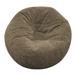 Hudson Industries - Jumbo Sueded Corduroy Beanbag - Oversized MicroSuede beanbag chair in traditional round shape. Sueded textured corduroy look. Filled with expanded polystyrene beads. Child safe zipper & double-stitched seams. 30 Day Manufacturer's Warranty. 41 in. L x 41 in. W x 41 in. H (7 lbs)