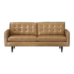 "Petrie Leather 76"" Apartment Sofa 