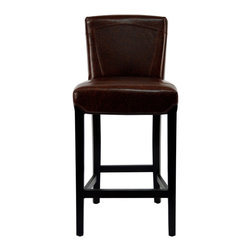 Safavieh - Safavieh Ken Bar Stool X-A3028DUH - Choose the Ken Barstool for luxurious comfort at counter or bar. With a 30-inch seat height, Ken offers cushioned comfort seating and a sturdy, beech wood frame in Dark Brown finish.