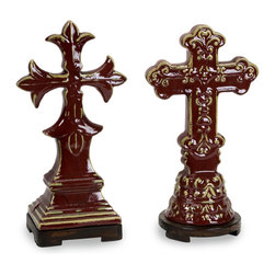 Cardinal Crosses Statues Table Decor- Set of 2 - *Cardinal crosses use a terra cotta technique with warm rust red glaze and a wood tone foot.