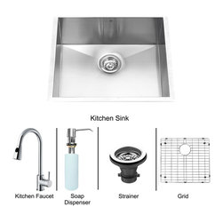 Vigo Industries - 23 in. Undermount Kitchen Sink and Faucet Set - Includes under mount kitchen sink, faucet, soap dispenser, matching bottom grid, sink strainer, all mounting hardware and hot-cold waterlines.