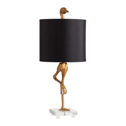 Cyan Design - Cyan Design Ibis Table Lamp - For the BirdsCyan Design's Ibis Table Lamp is head and wings above the rest in terms of fun, quirky design. Shaped like a long-legged bird, the whimsical resin base is finished in ancient gold for a traditional feel. The black satin shade is topped with a decorative bird head—as if it's peeking over the edge—to add a humorous touch. Let this fowl-themed accessory lighten up an eclectic space, or use it to feather your nest with some high-flying style.Resin base with ancient-gold finishSatin shade in black with gold liner (included)Fits one 100-watt medium bulb (not included)10-foot-long plugin cord with dimmerOn/off switch on socketMade in ChinaShips after 2/24/13