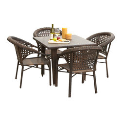 Great Deal Furniture - Louisiana 5-pieces Outdoor Wicker Dining Set - Whether on a cool Fall day or a warm Summer morning, food just tastes better when eaten outdoors, especially when at our Louisiana 5-pieces Outdoor Wicker Dining Set. This stylish dining table, made of durable all-weather PE wicker, comfortably seats four but still offers an intimate setting suitable for a romantic meal. Our beautiful, one-of-a-kind wicker provides an aesthetic appeal that makes the table and chairs fit the most formal, most casual, and all decors in between. The rich, natural color of the wicker will fit with any nearby landscape if used outdoors, or decor if used by a pool or inside a screened porch. Rain or shine, this set can take it, don't worry about staining or fading.