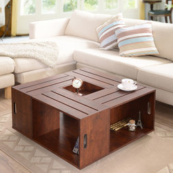 The Crate Square Vintage Walnut Coffee Table with Open Shelf Storage - Flowers in the center, coffee on the top and your favorite knickknacks in the cubby holes — I love it.