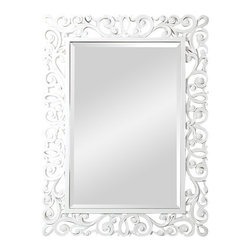 """Ren-Wil - Ren-Wil MT879 Portrait Mirror in All Glass - Old school meets """"New school"""" with this hip fashionable mirror. With a traditional design contrasting with a contemporary white finish with high-gloss lacquer this stylish beveled mirror is the perfect accent to your decor."""