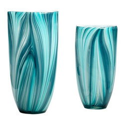 Cyan Design - Cyan Design Small Turin Vase in Turquoise Blue - Small Turin Vase in Turquoise Blue